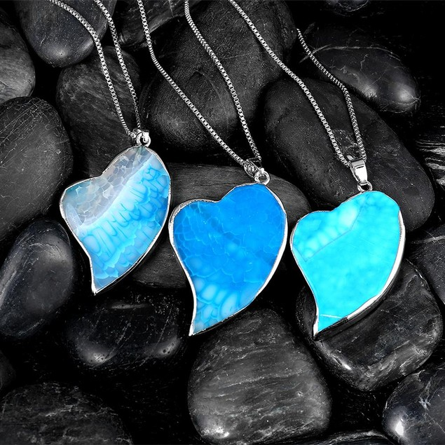 Blue Petite Heart Natural Agate Necklace