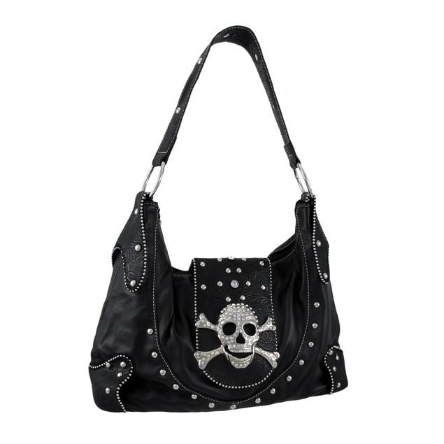 Black Snakeskin Rhinestone Skull Buckle Handbag Womens Shoulder Handbags