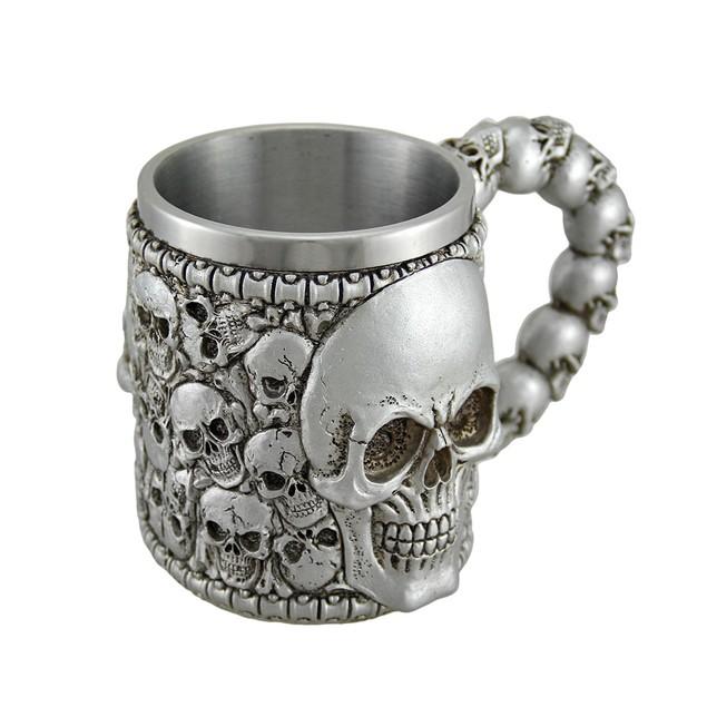 Creepy Boneyard Skulls Metallic Silver Mug W/ Mugs
