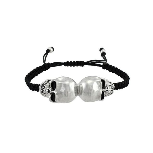 Chrome Mirrored Skulls Black Cord Bracelet Mens Cord Bracelets