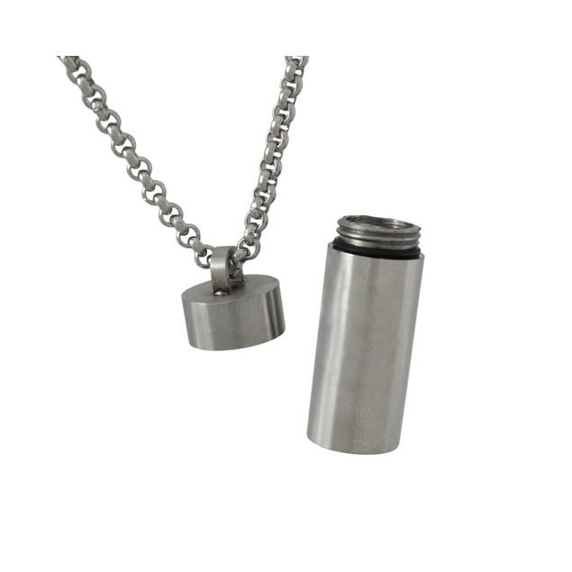Stainless Steel Cylinder Stash Pendant Pill Case Womens Pendants