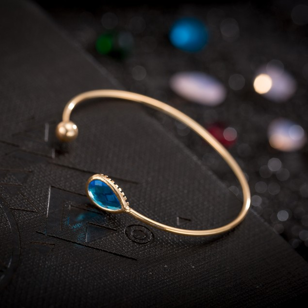 Gold Plated Vivid Turquoise Gem & Ball Open Ended Bangle