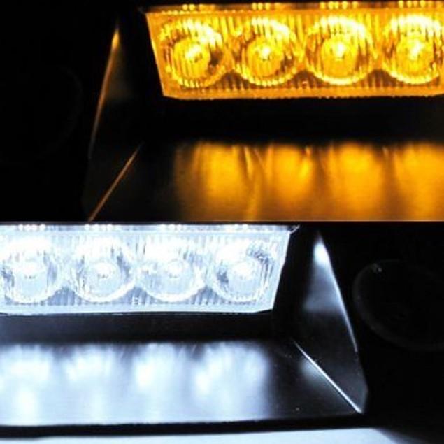 Zone Tech 8-LED Emergency Car Dash Warning Strobe Flash Light Amber/White