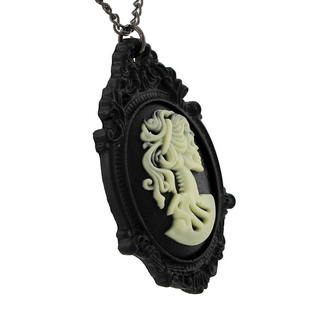 Victorian Skeleton Cameo Necklace With Black Frame Pendant Necklaces