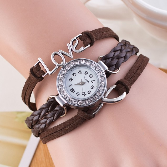 Womens Infinite Love Bangle Charm Bracelet Wrist Watch on Leather rope