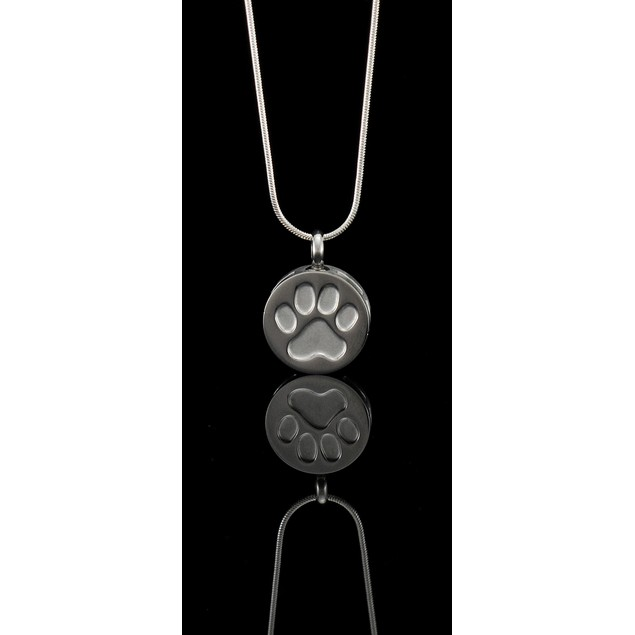 Stainless Steel Silver Dog Paw Print Keepsake Vial Mens Pendant Necklaces