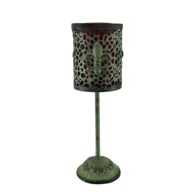 Set Of 2 Green Vintage Finish Footed Metal Fleur Candle Holder Sets