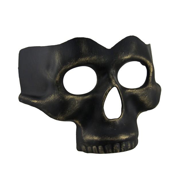Black Gold Finish Half Face Skull Mask Mens Costume Masks