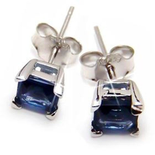 Sterling Silver 4mm Blue Squared Cubic Zirconia Stud Earrings