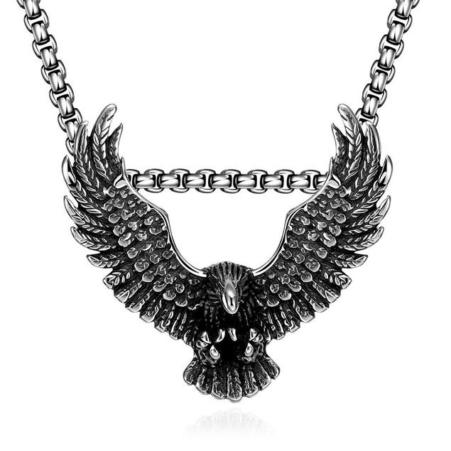 Alpha Steel Stainless Steel Flying Hawk Emblem Necklace