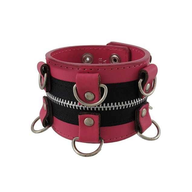 Pink Leather Wristband With D-Rings And Zipper Mens Leather Bracelets