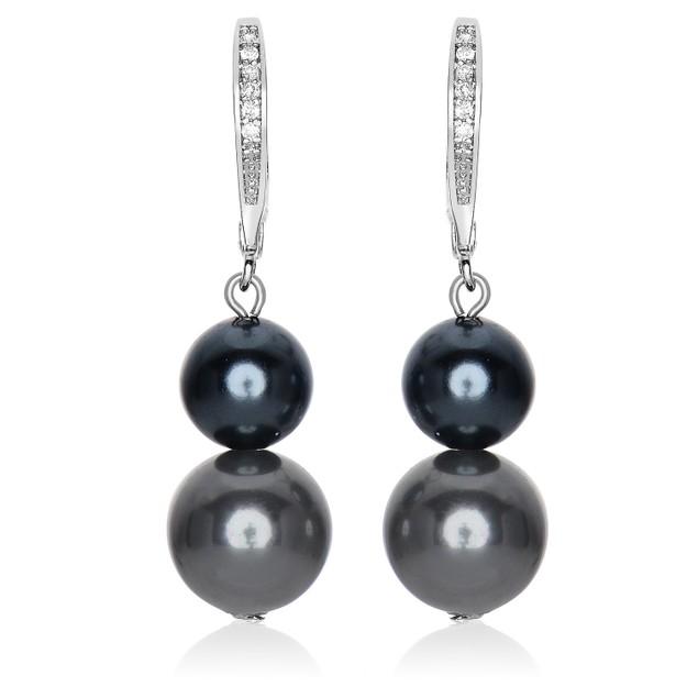 C.Z. Sterling Silver Rhodium Plated Double Black Pearl Drop Earrings