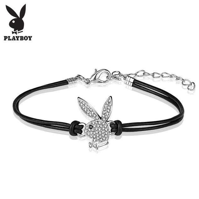 Playboy Bunny Charm Leather and Brass Bracelet