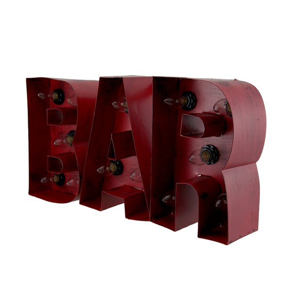 Distressed Red Enamel Finish Metal Lighted Bar Wall Sculptures