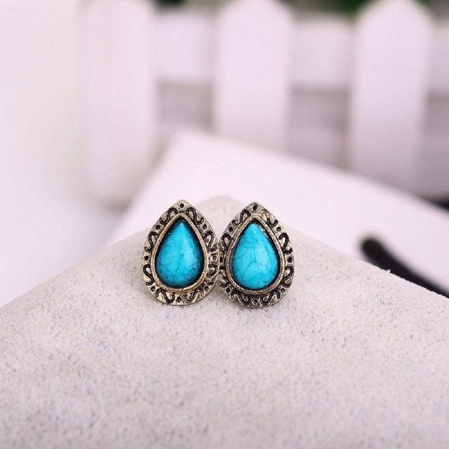 Brushed Turquoise Earrings
