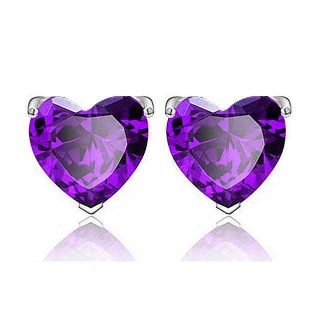 3 Pairs: Colored Gemstone Heart-Cut Stud Earrings