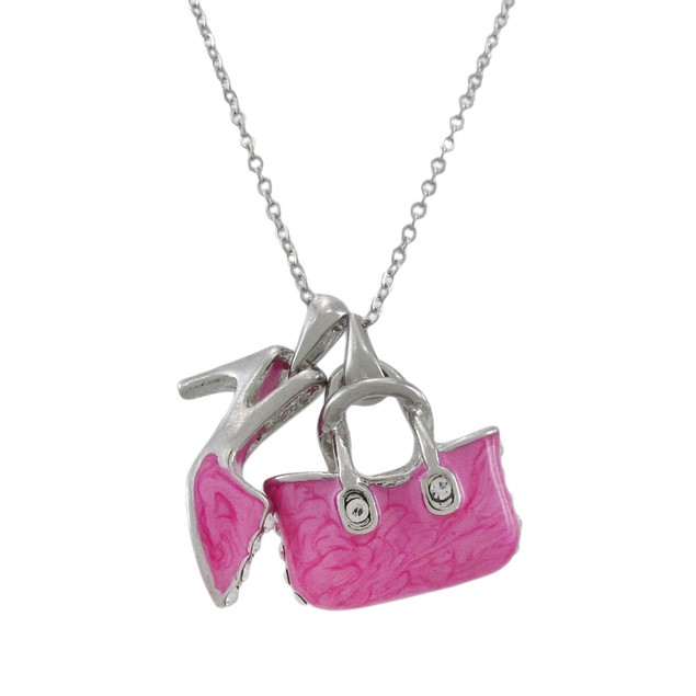 Adorable Hot Pink Enamel Purse And Pump Necklace Chain Necklaces