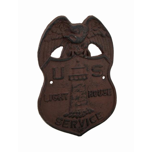 Cast Iron U.S. Lighthouse Service Badge Decorative Decorative Plaques