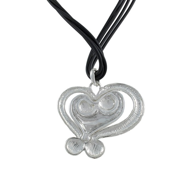 Silvertone Abstract Heart Necklace And Dangle Womens Earring And Necklace