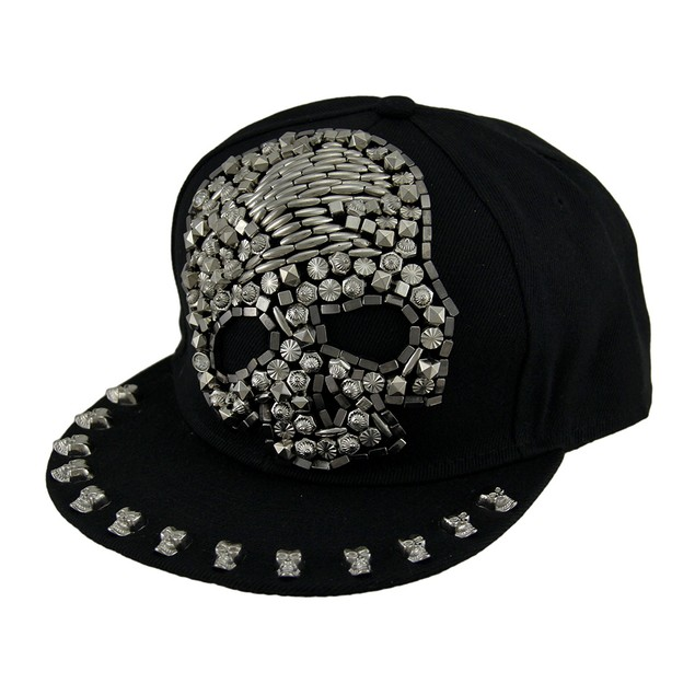 Urban Bling Beaded Skull Black Snapback Hat Mens Baseball Caps