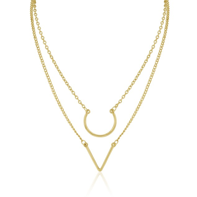 Gold Plated Double Layer Pendant Necklace