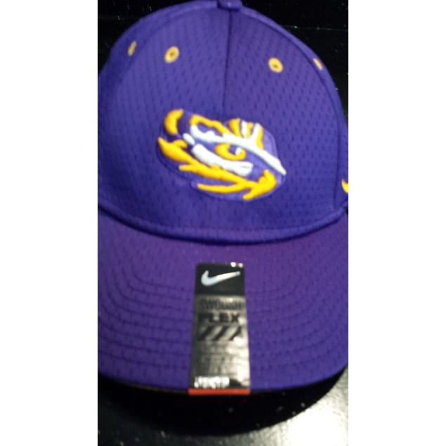 """LSU Tigers NCAA Nike """"Logo"""" Swoosh Flex Fitted Dri Fit Hat"""