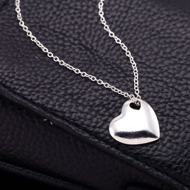 Polished Puff Heart Necklace