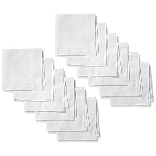 Men's Cotton Handkerchief 12 Pack by Umo Lorenzo in White