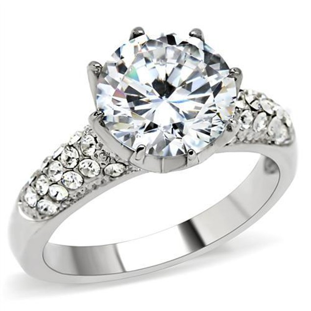 6ct Solitaire Cz Crown Setting Stainless Steel Ring