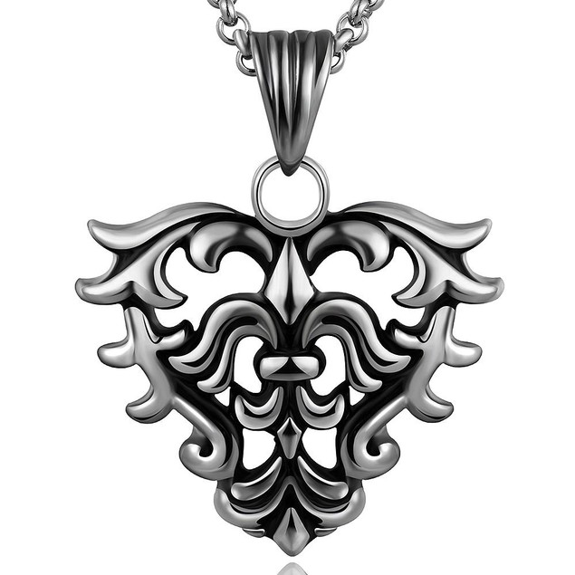 Alpha Steel Hollow Hearts Emblem Stainless Steel Necklace