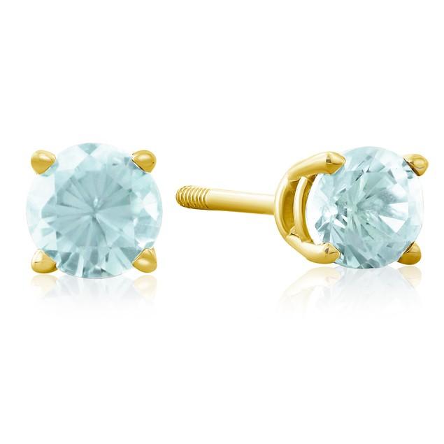 1/2 Carat Blue Topaz Stud Earrings in 14k Yellow Gold