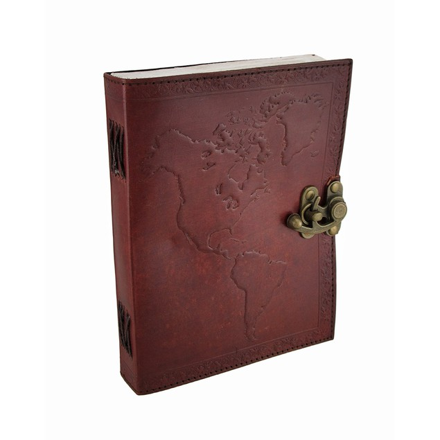 Embossed Leather World Map Journal W/Swing Clasp Art Sketchbooks And