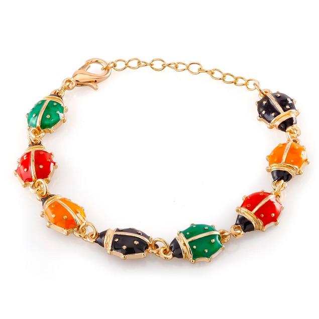Kids Gold Plated Ladybug Enamel Bracelet