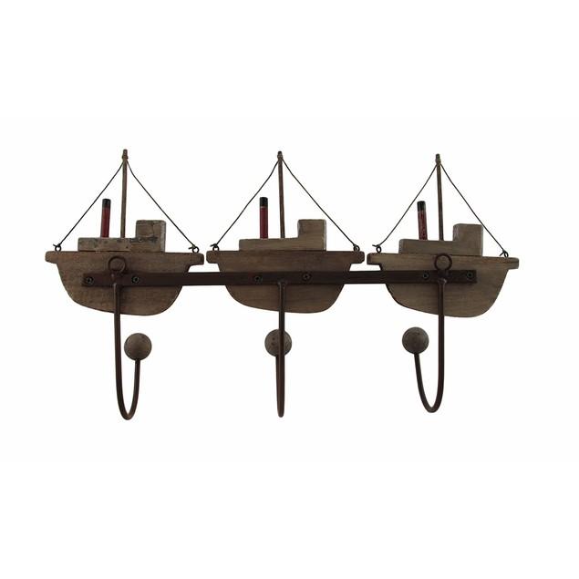 Wood And Metal Fishing Boats 3 Hook Wall Rack Coat Hooks