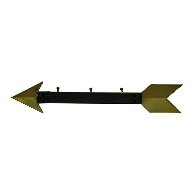 Distressed Gold Wood And Metal Arrow Shaped Decorative Wall Hooks