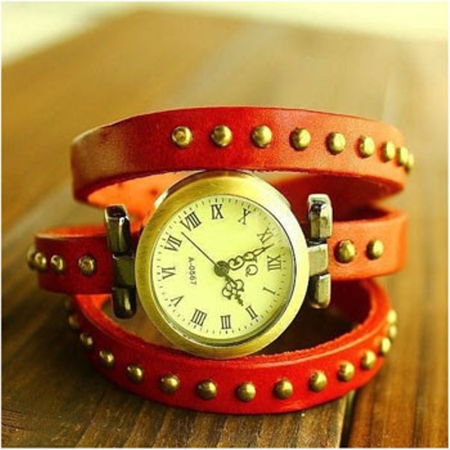 Red Bella Chic Leather Wrap Watch