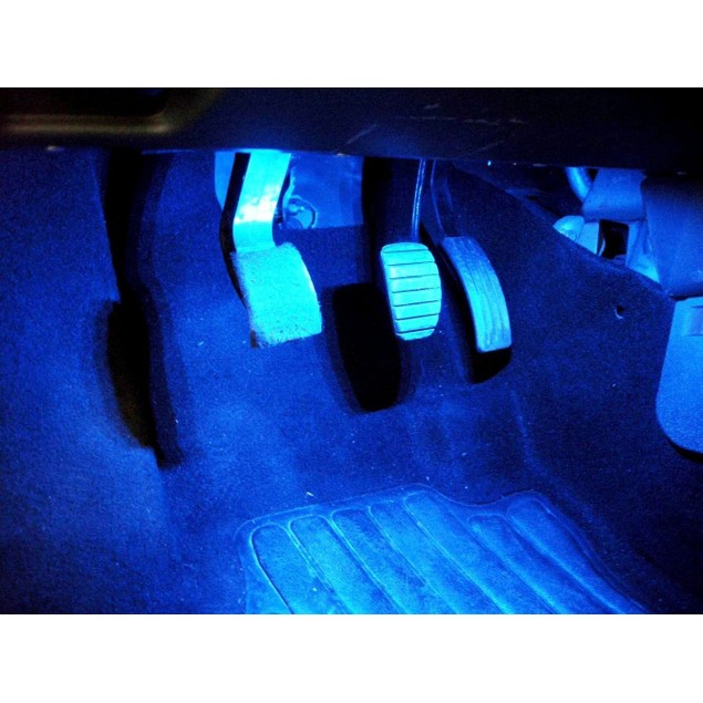Zone Tech 4x LED Atmosphere Car Charge Blue Glow Interior Decorative Light