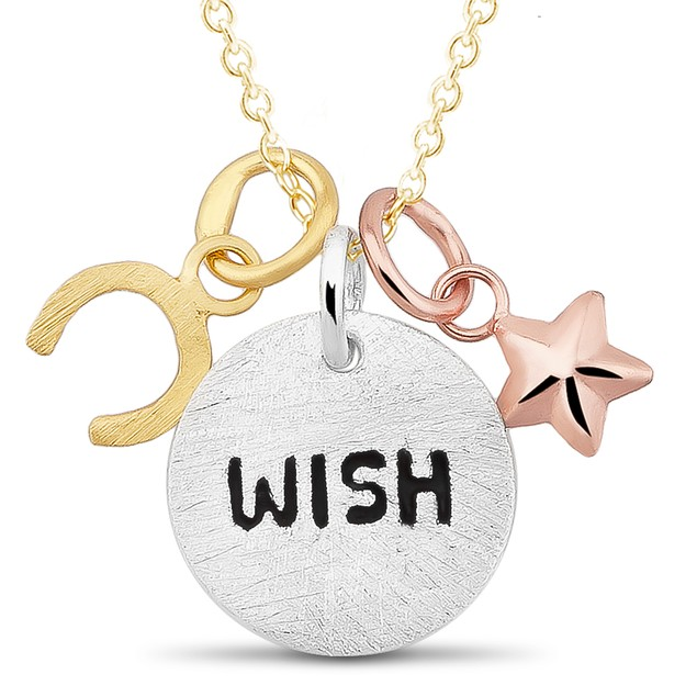 Tri-Color Sterling Silver Three Piece Inspirational Necklace - Wish