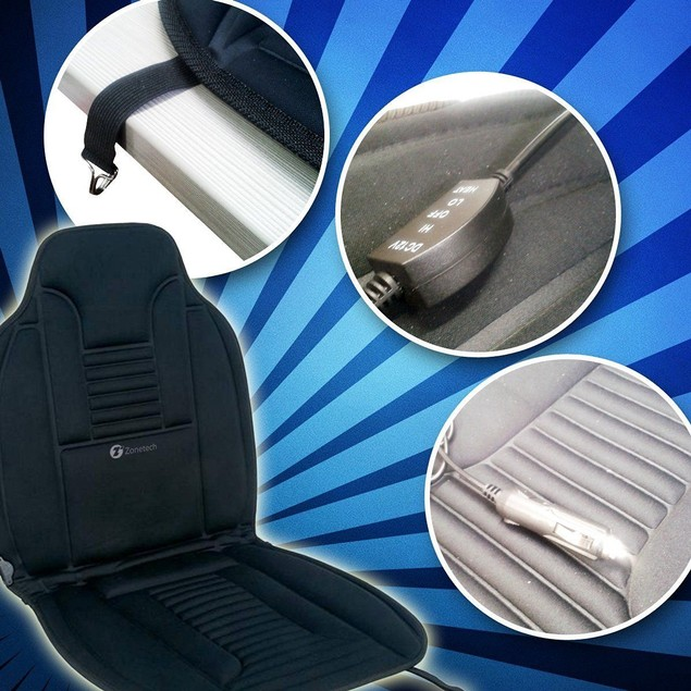 Zone Tech 2x Heated Car Van Seat Chair Cushion 12V Heating Warmer Pad