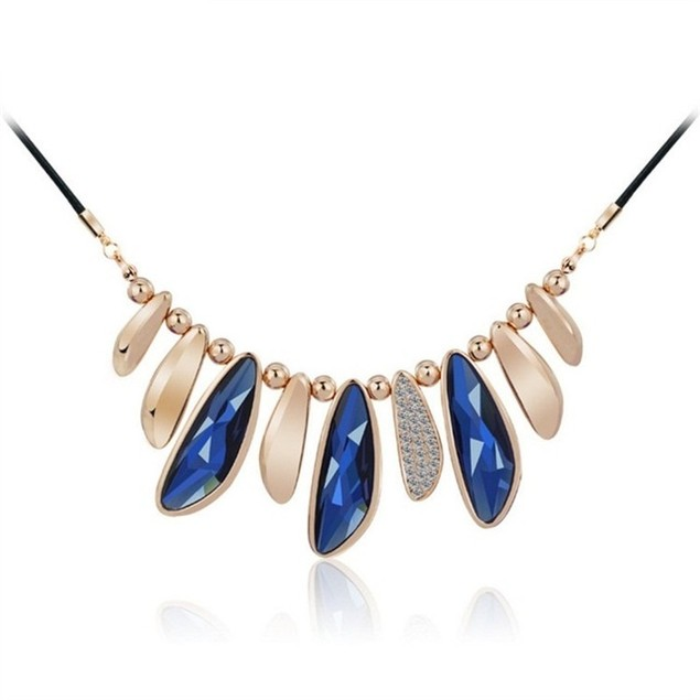 Collar Glass Opal Aqua Crystal Statement Necklace