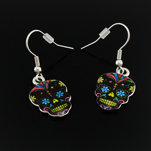 Day Of The Dead Black Sugar Skull Necklace And Womens Earring And Necklace