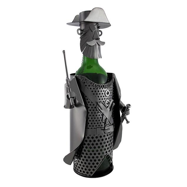 Pirate Captain Holding Pistol And Sword Metal Art Wine Racks