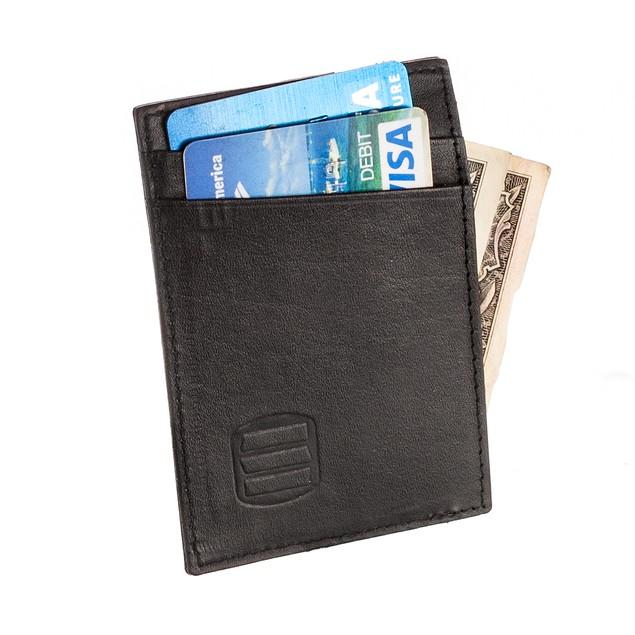 Suvelle Genuine Leather Credit Card Holder, Slim Business Card Case Wallet