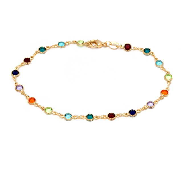 Gold and Multi Color Round Anklet