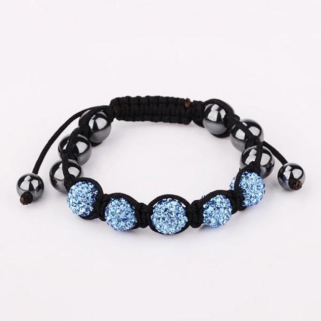 80's Glam Five Beads Austrian Crystal Bracelet - Sky Blue