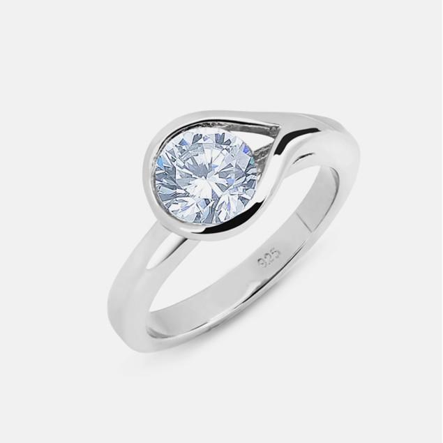 Sterling Silver Ladies Ring - Teardrop