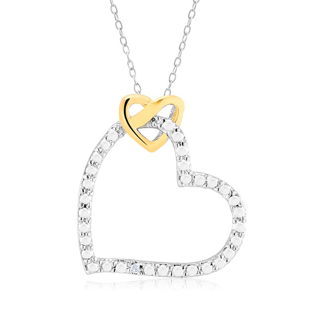1/10 CTW Diamond Ladies Necklace - Gold Heart