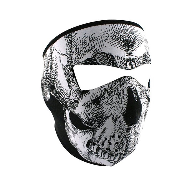 Black & White Skull Face Graphical Neoprene Full Face Mask