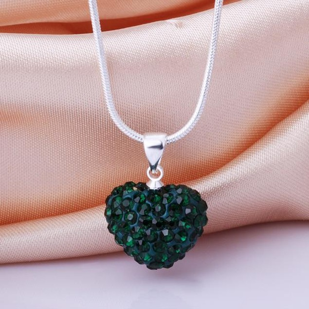 Solid Austrian Stone Crystal Heart Shaped Necklace - Dark Green