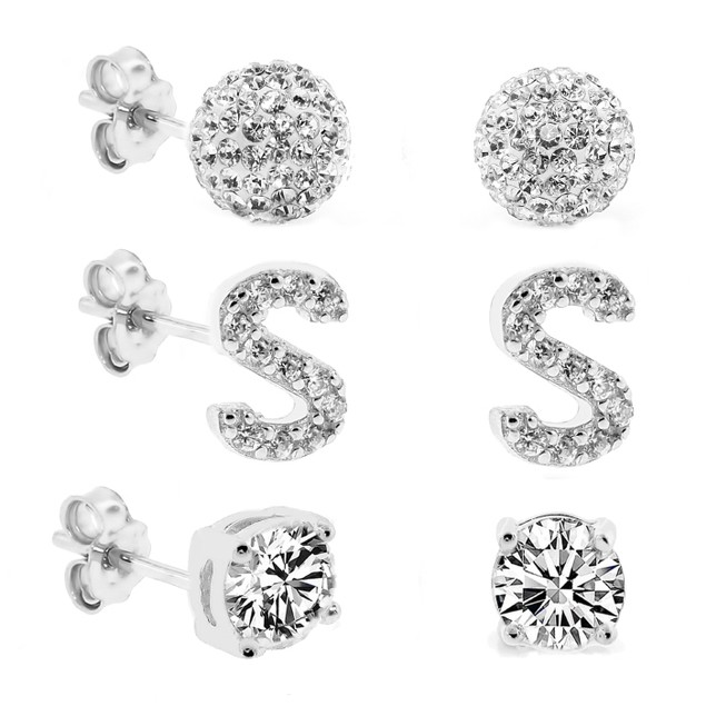 3-Piece Set: Initial Stud Earrings with Swarovski Elements - S